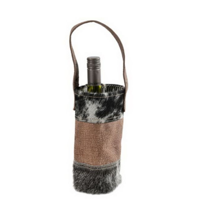 Hair On Leather Wine Bottel Bag