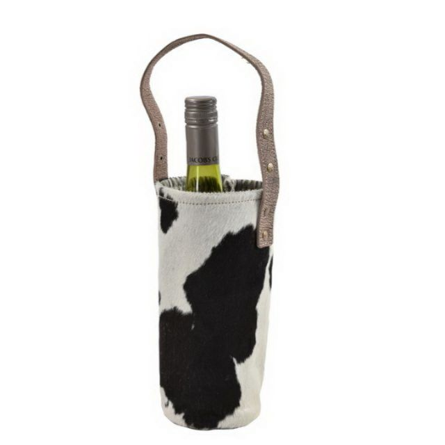 Hair On Leather Wine Bottle Bag