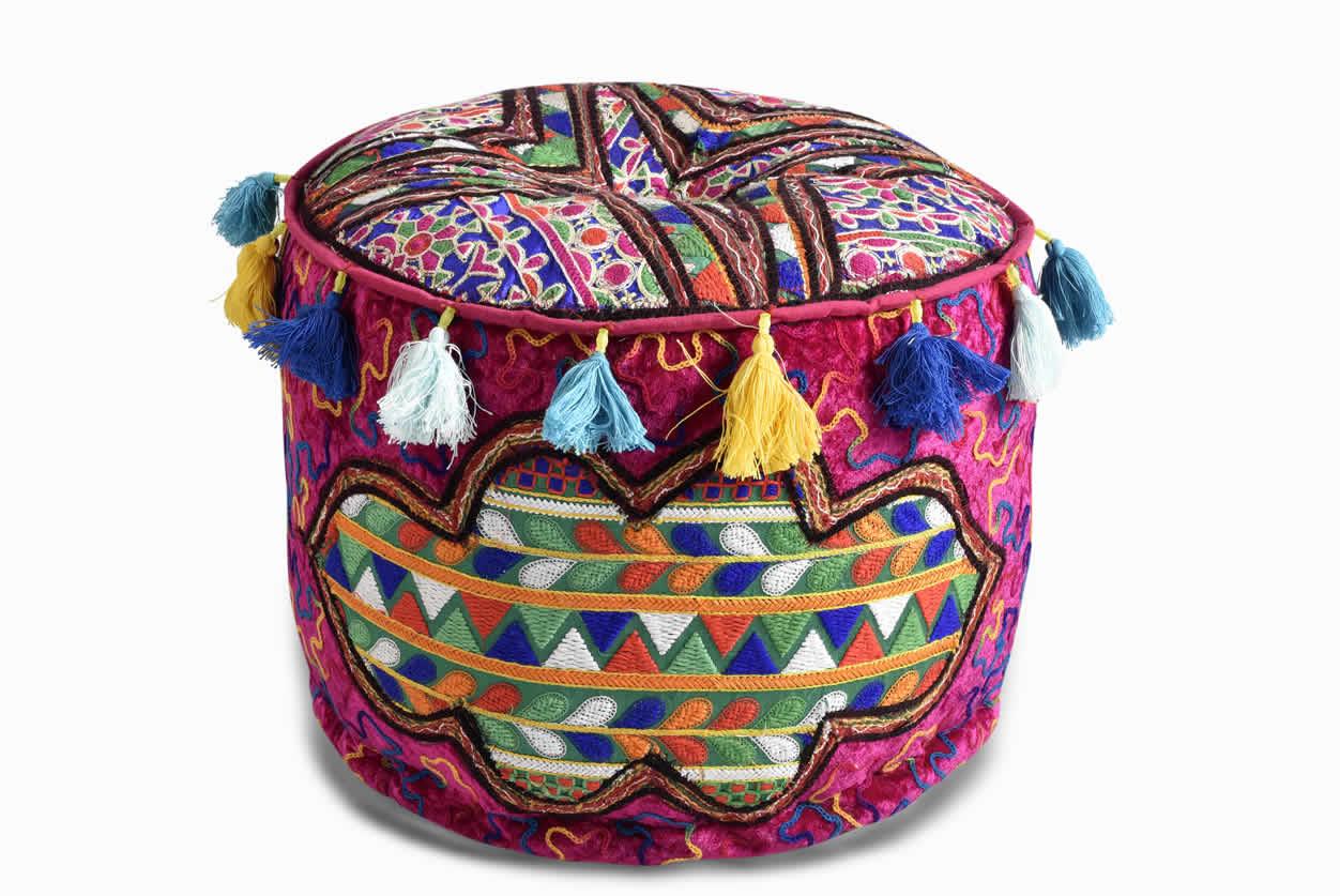 Velvet Embroidery Pouf Ottoman