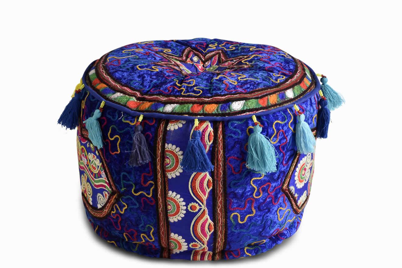 Velvet Handmade Embroidery Ottoman Pouf