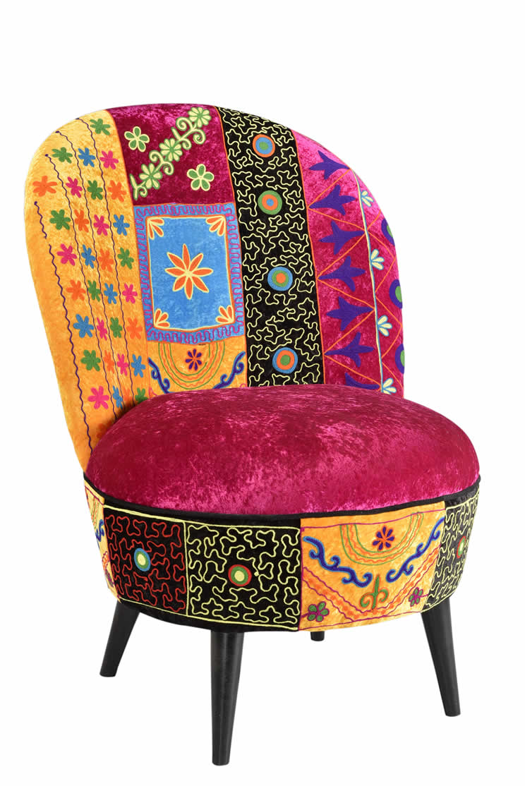 Living Room Velvet Embroidery Sofa Chair