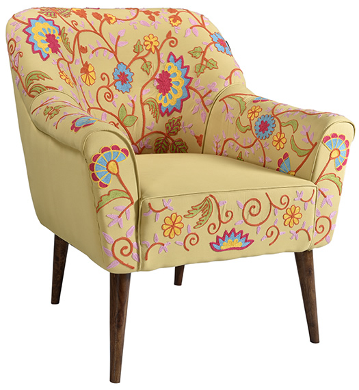 Indian Style New Design Embroidery Provincial Wooden Carving Armchair