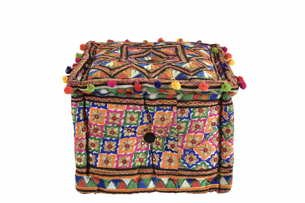 Embroidered Square Ottoman