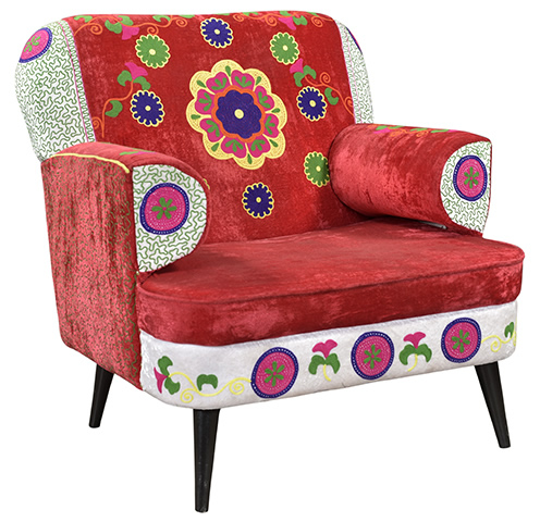 Indian Vintage Velvet Embroidered One Seat Sofa Arm Chair
