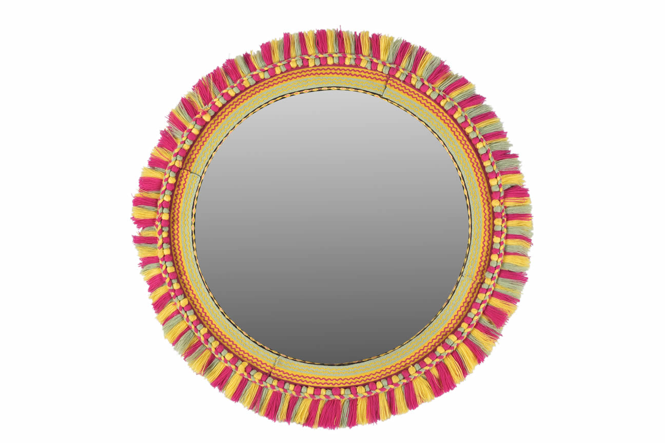 Round Embroidered Big Mirror Frame