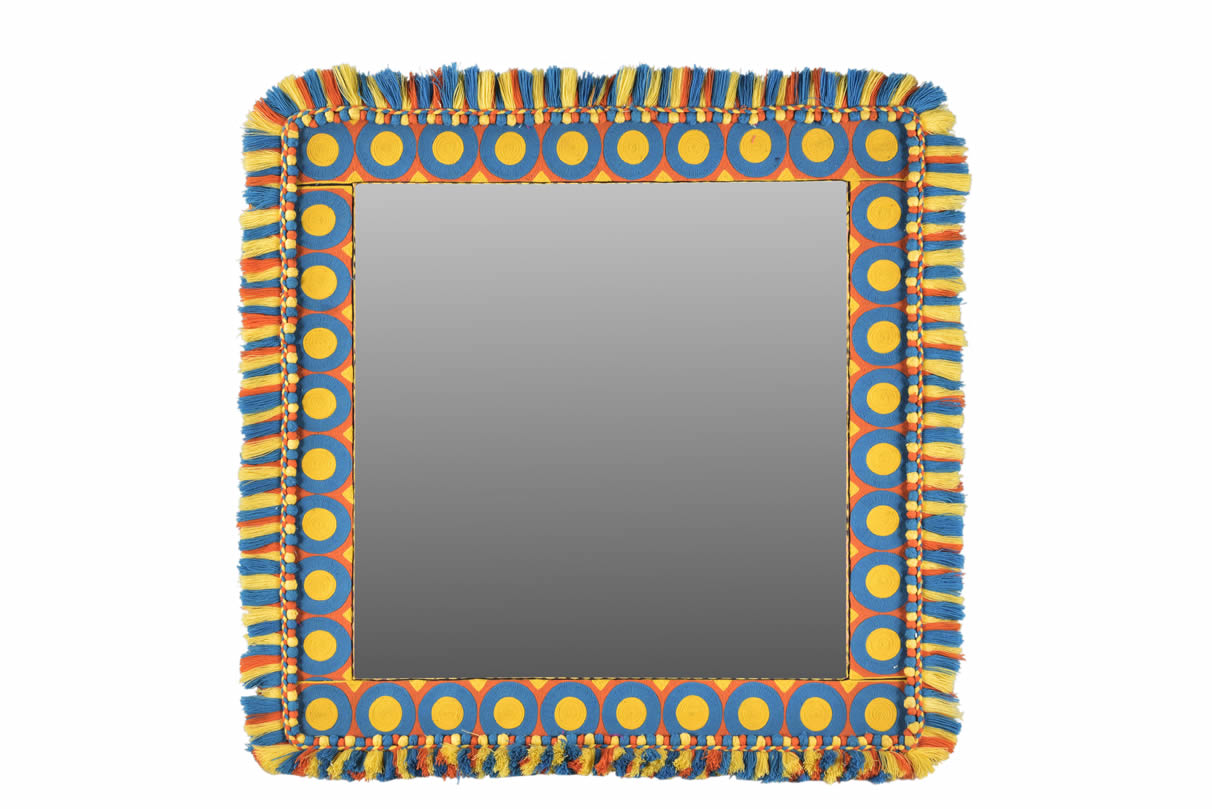 Square Embroidered Mirror Frame