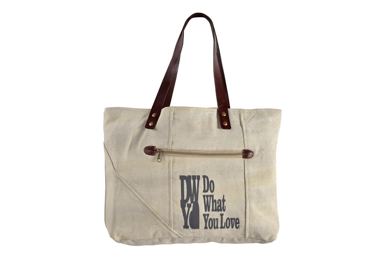 Beautiful Cotton Canvas Handmade Leather Handle Tote Handbag