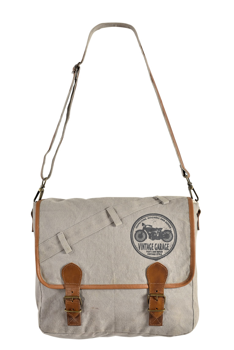 Canvas Leather Handle Laptop Bag