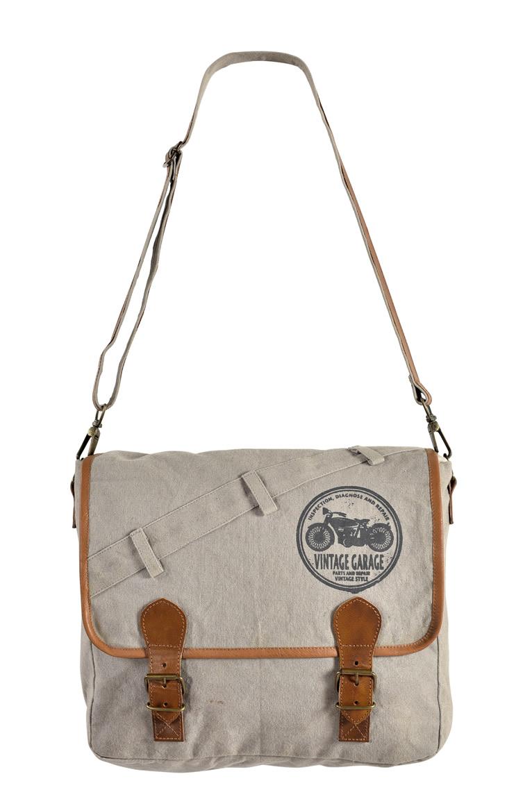 Canvas Leather Handle Laptop Bag