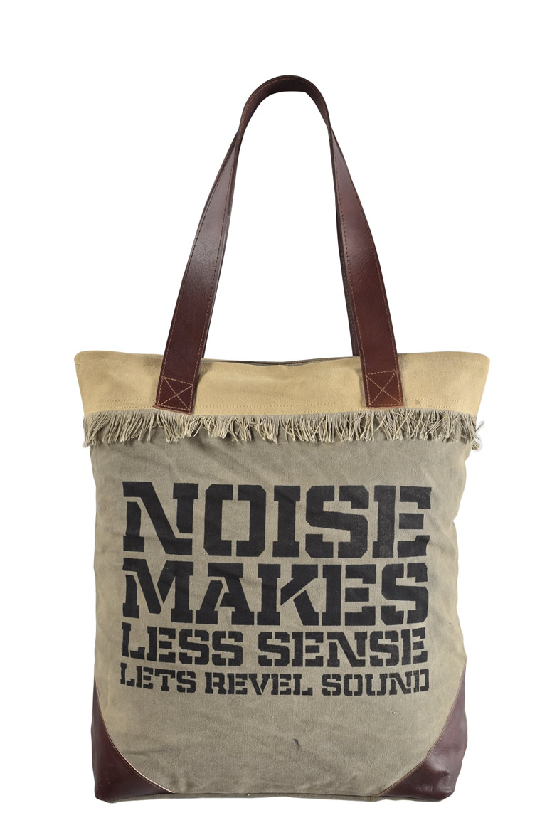 Leather Handle Shopping Canvas Tote Bag S