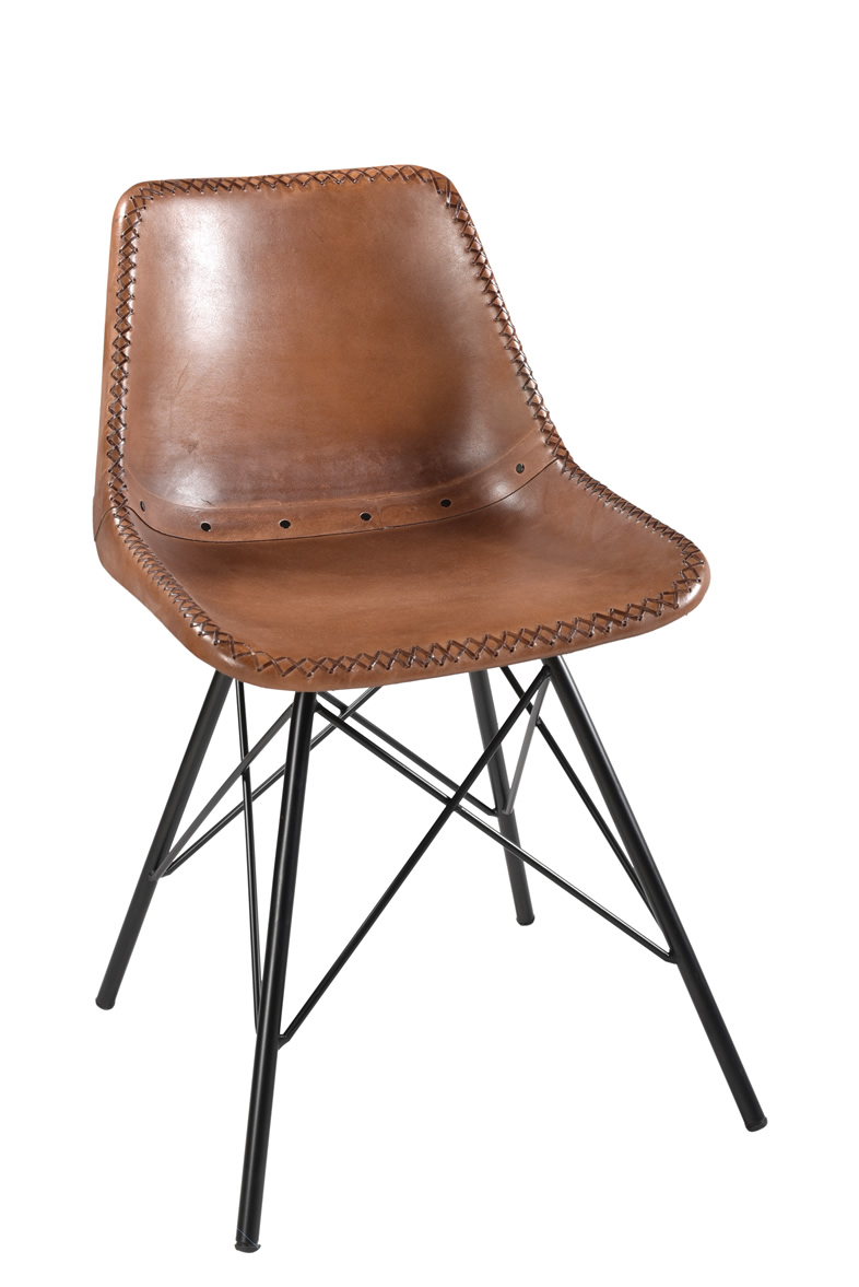 Upholstery Giron Iron & Leather Dining Chair